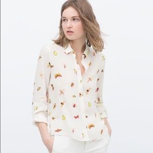 Zara Bug Printed Blouse